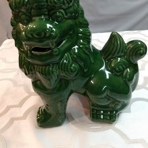 """Ceramic Chinese style guardian dog/lion green 7"""""""